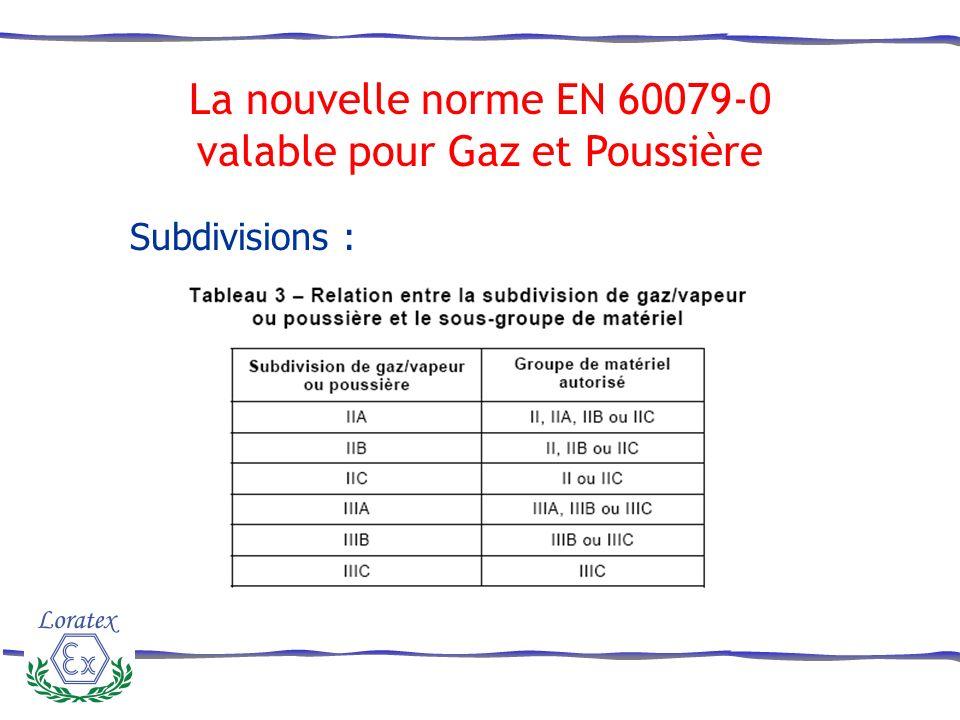 Subdivisions : La nouvelle norme EN 60079-0 valable pour Gaz et Poussière