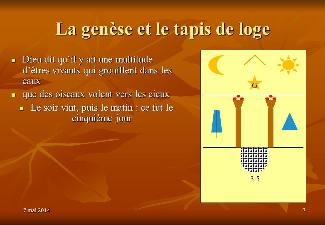 7 mai 20147 mai 20147 mai 20147 La genèse et le tapis de loge Dieu dit quil y ait une multitude dêtres vivants qui grouillent dans les eaux Dieu dit q
