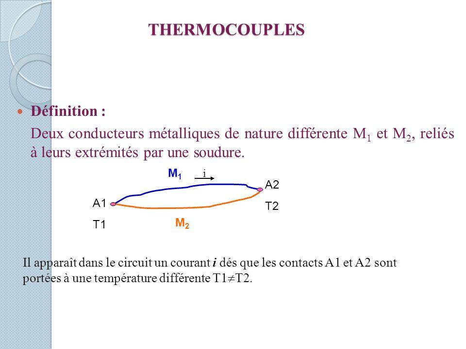 THERMOCOUPLES Définition : Deux conducteurs métalliques de nature différente M 1 et M 2, reliés à leurs extrémités par une soudure. M2M2 M1M1 i A1 T1