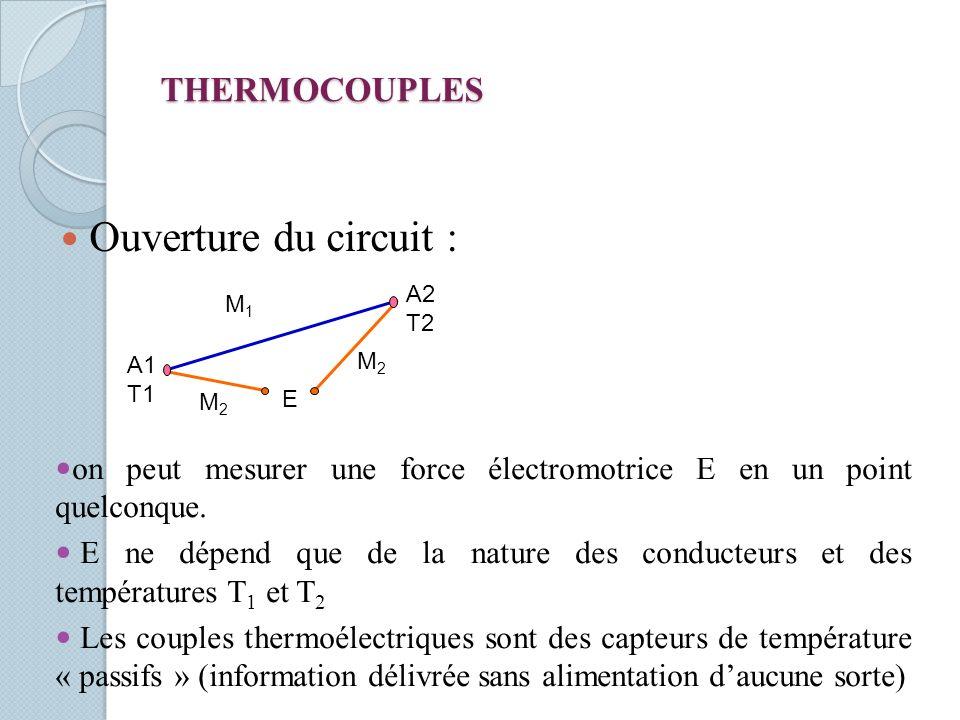 THERMOCOUPLES Ouverture du circuit : E on peut mesurer une force électromotrice E en un point quelconque. E ne dépend que de la nature des conducteurs