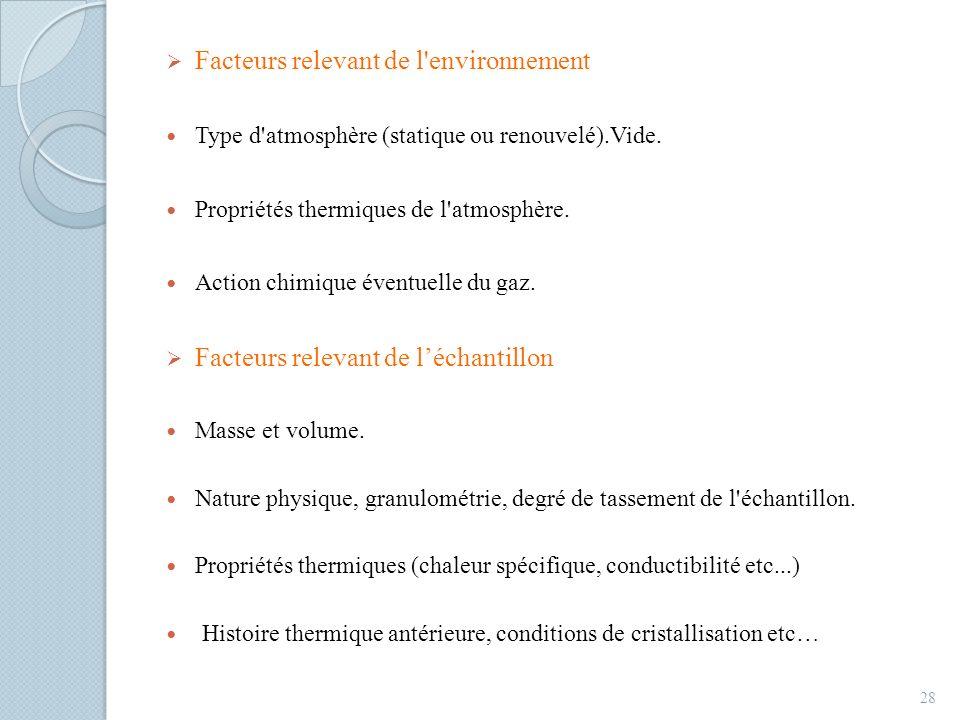 Facteurs relevant de l'environnement Type d'atmosphère (statique ou renouvelé).Vide. Propriétés thermiques de l'atmosphère. Action chimique éventuelle