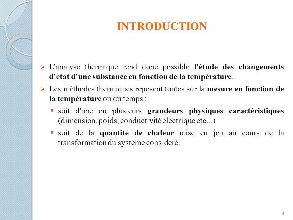 INTRODUCTION L'analyse thermique rend donc possible l'étude des changements d'état d'une substance en fonction de la température. Les méthodes thermiq