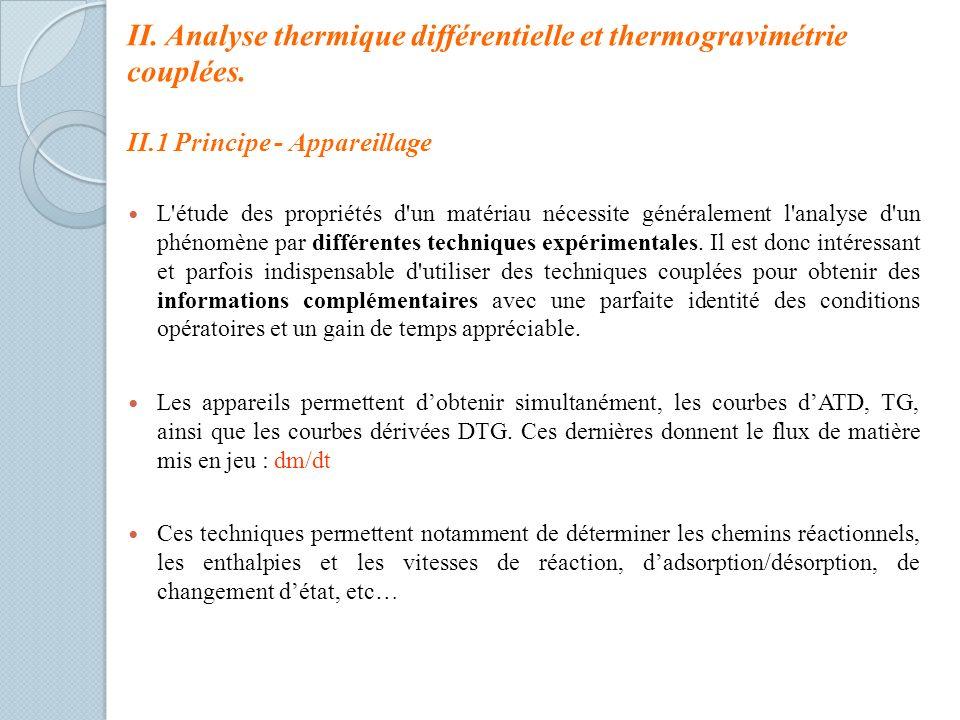 II. Analyse thermique différentielle et thermogravimétrie couplées. II.1 Principe - Appareillage L'étude des propriétés d'un matériau nécessite généra