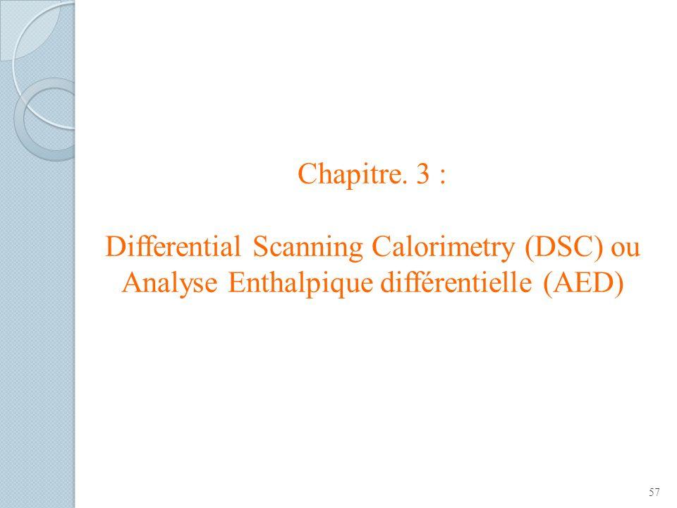 Chapitre. 3 : Differential Scanning Calorimetry (DSC) ou Analyse Enthalpique différentielle (AED) 57