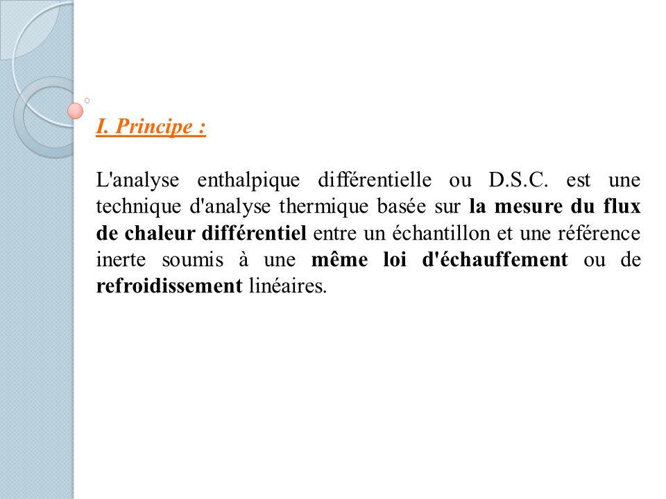 I.Principe : L analyse enthalpique différentielle ou D.S.C.