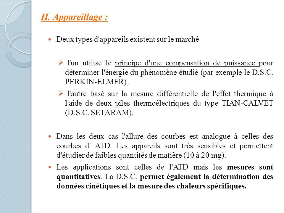 Deux types d appareils existent sur le marché l un utilise le principe d une compensation de puissance pour déterminer l énergie du phénomène étudié (par exemple le D.S.C.
