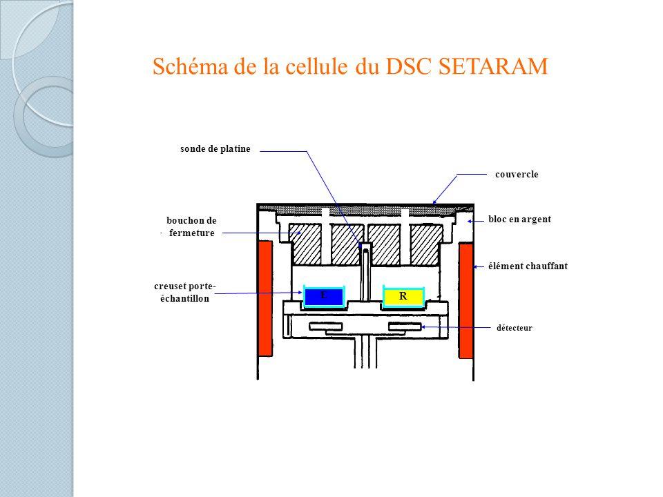 Schéma de la cellule du DSC SETARAM creuset porte- échantillon R E détecteur bloc en argent couvercle bouchon de fermeture sonde de platine élément chauffant