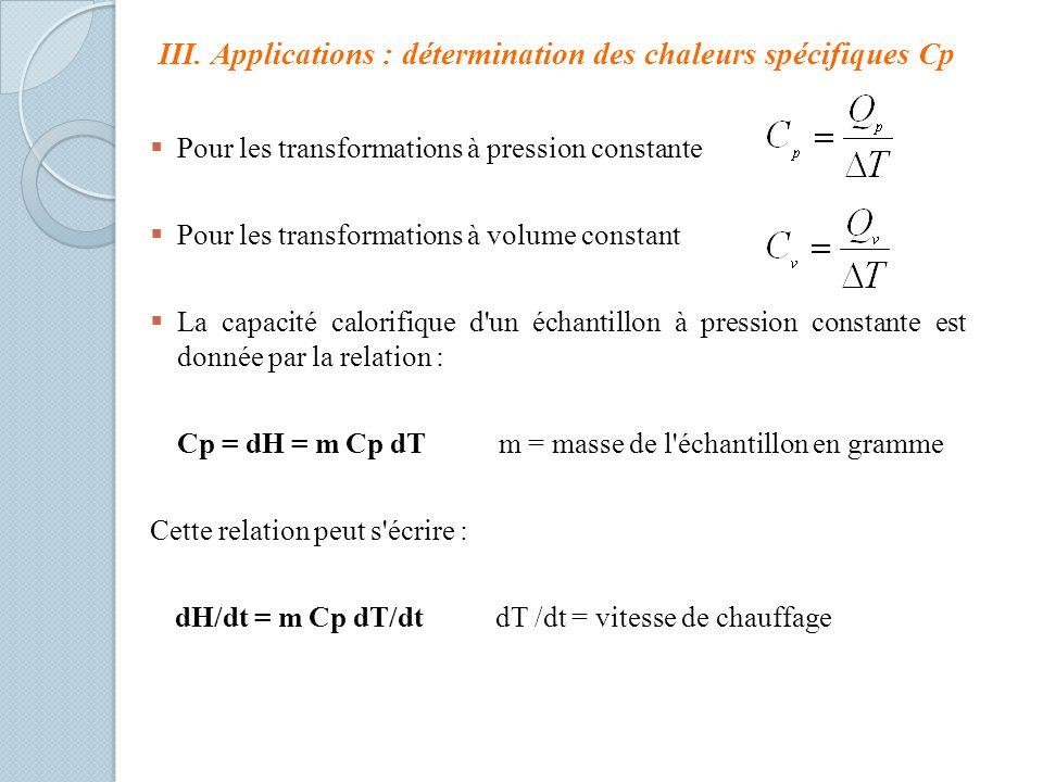III. Applications : détermination des chaleurs spécifiques Cp Pour les transformations à pression constante Pour les transformations à volume constant