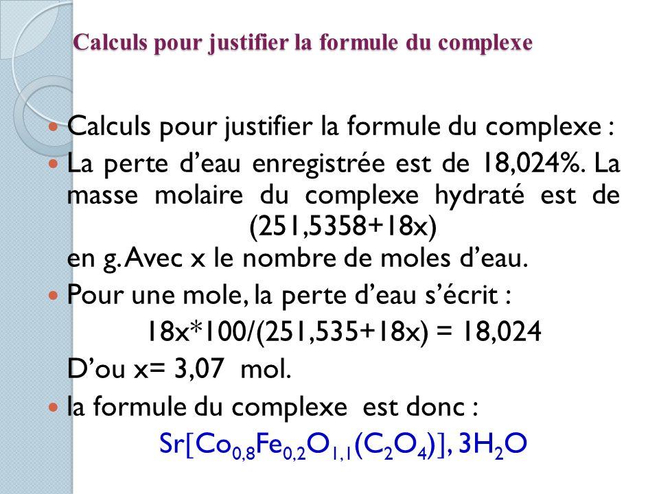 Calculs pour justifier la formule du complexe Calculs pour justifier la formule du complexe : La perte deau enregistrée est de 18,024%. La masse molai