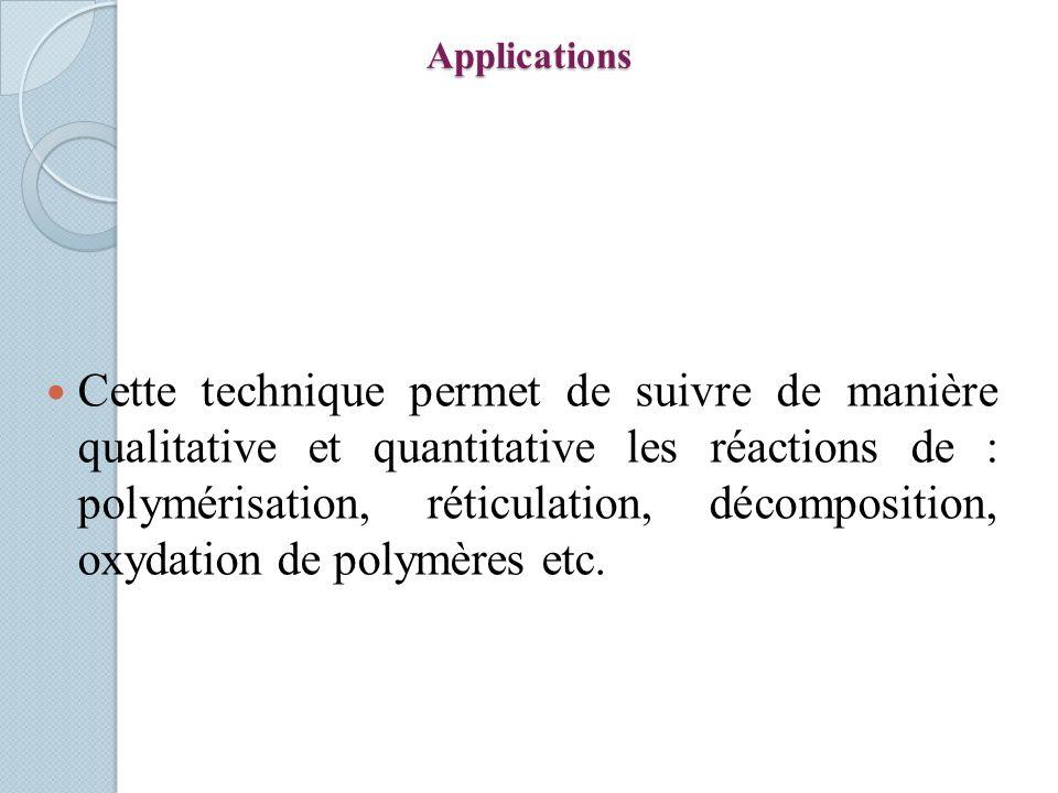 Applications Cette technique permet de suivre de manière qualitative et quantitative les réactions de : polymérisation, réticulation, décomposition, oxydation de polymères etc.