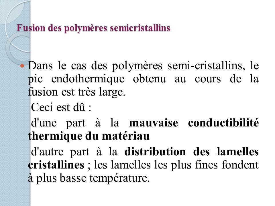 Fusion des polymères semicristallins Dans le cas des polymères semi-cristallins, le pic endothermique obtenu au cours de la fusion est très large. Cec