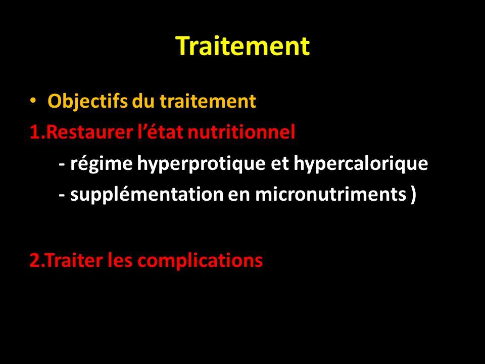 Traitement Objectifs du traitement 1.Restaurer létat nutritionnel - régime hyperprotique et hypercalorique - supplémentation en micronutriments ) 2.Tr
