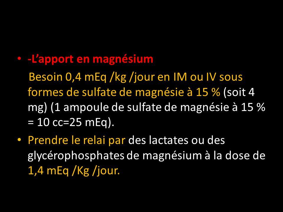 -Lapport en magnésium Besoin 0,4 mEq /kg /jour en IM ou IV sous formes de sulfate de magnésie à 15 % (soit 4 mg) (1 ampoule de sulfate de magnésie à 1
