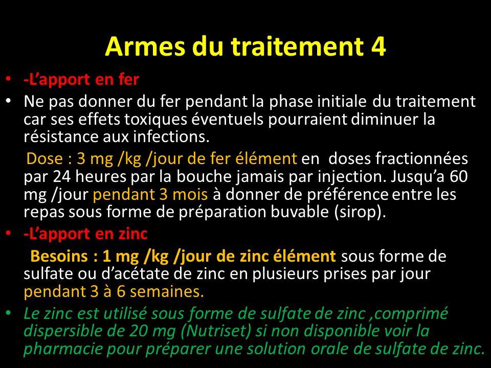 Armes du traitement 4 -Lapport en fer Ne pas donner du fer pendant la phase initiale du traitement car ses effets toxiques éventuels pourraient diminu