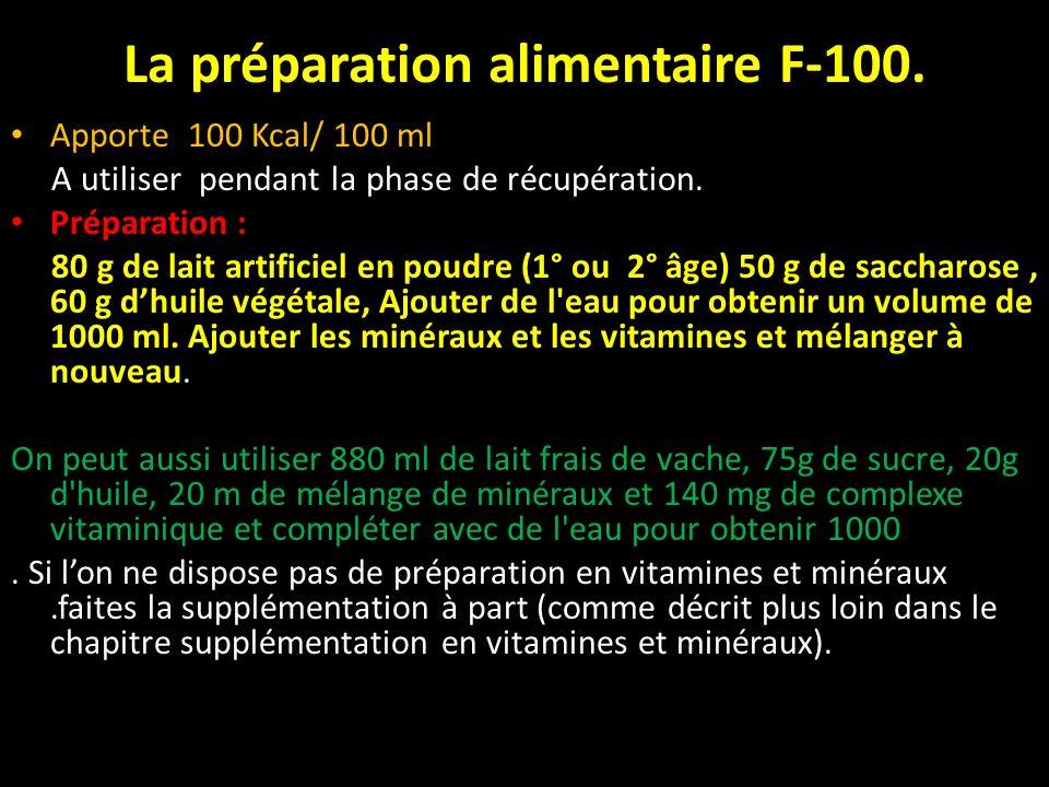 La préparation alimentaire F-100. Apporte 100 Kcal/ 100 ml A utiliser pendant la phase de récupération. Préparation : 80 g de lait artificiel en poudr