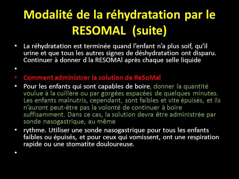 Modalité de la réhydratation par le RESOMAL (suite) La réhydratation est terminée quand lenfant na plus soif, quil urine et que tous les autres signes
