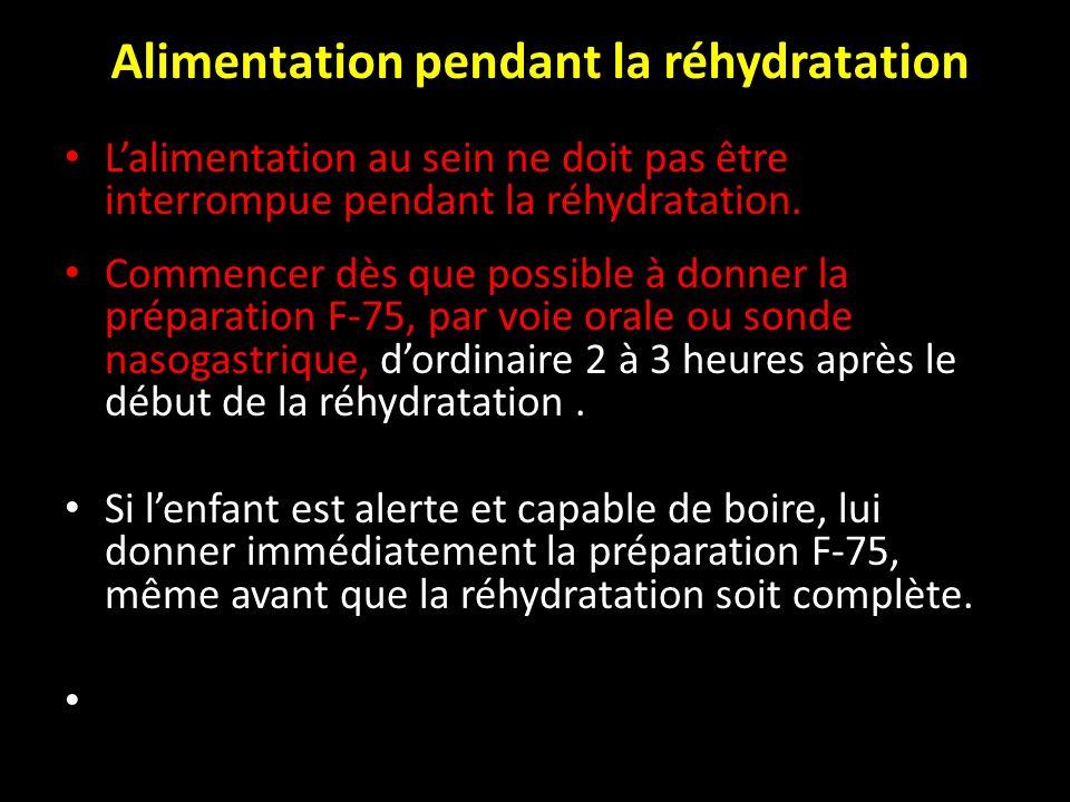 Alimentation pendant la réhydratation Lalimentation au sein ne doit pas être interrompue pendant la réhydratation. Commencer dès que possible à donner