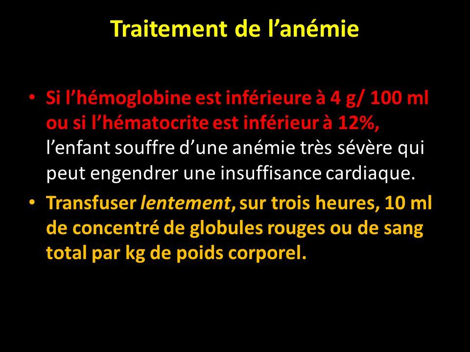 Traitement de lanémie Si lhémoglobine est inférieure à 4 g/ 100 ml ou si lhématocrite est inférieur à 12%, lenfant souffre dune anémie très sévère qui