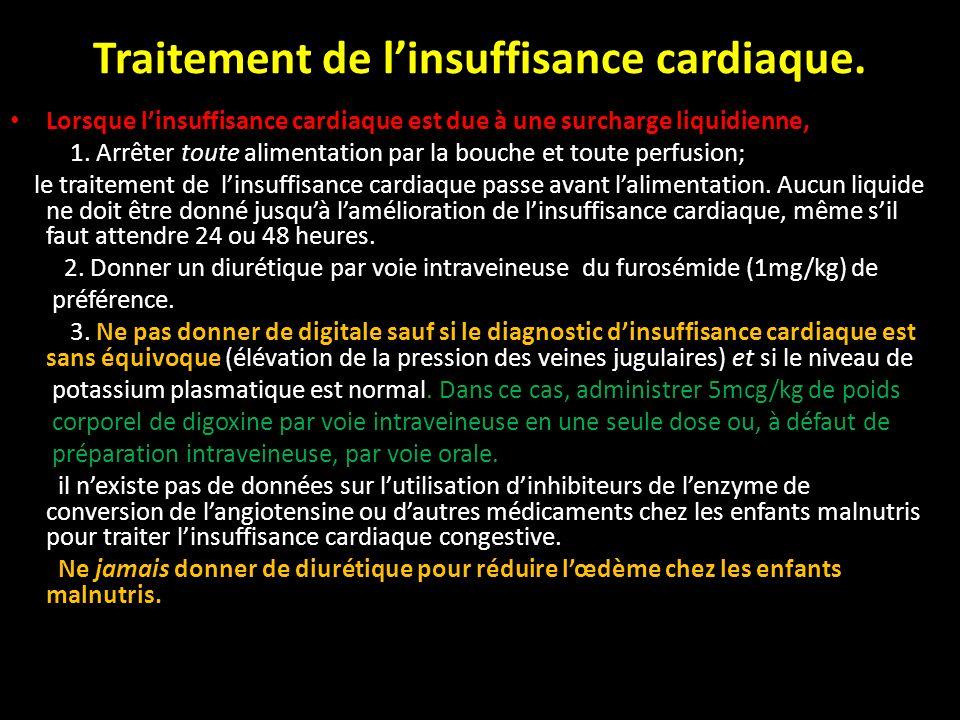 Traitement de linsuffisance cardiaque. Lorsque linsuffisance cardiaque est due à une surcharge liquidienne, 1. Arrêter toute alimentation par la bouch