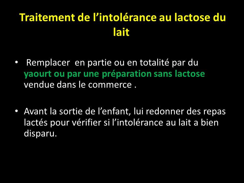 Traitement de lintolérance au lactose du lait Remplacer en partie ou en totalité par du yaourt ou par une préparation sans lactose vendue dans le comm