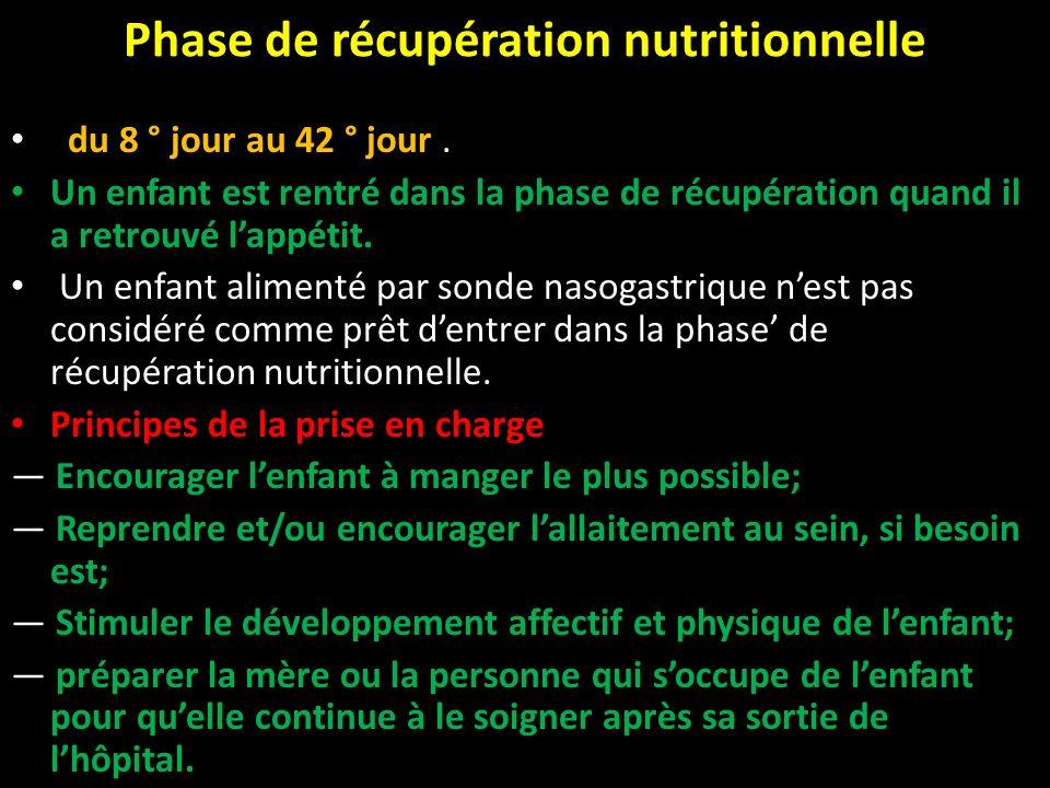 Phase de récupération nutritionnelle du 8 ° jour au 42 ° jour. Un enfant est rentré dans la phase de récupération quand il a retrouvé lappétit. Un enf