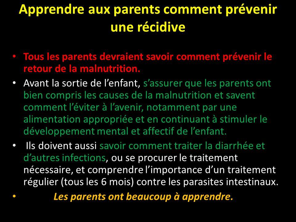 Apprendre aux parents comment prévenir une récidive Tous les parents devraient savoir comment prévenir le retour de la malnutrition. Avant la sortie d