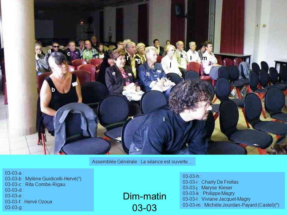 a f b cd e g h i Dim-matin 03-03 03-03-a : 03-03-b : Mylène Guidicelli-Hervé(*) 03-03-c : Rita Combe-Rigau 03-03-d : 03-03-e : 03-03-f : Hervé Ozoux 03-03-g : 03-03-h : 03-03-i : Charly De Freitas 03-03-j : Maryse Kieser 03-03-k : Philippe Magry 03-03-l : Viviane Jacquet-Magry 03-03-m : Michèle Jourdan-Payard (Castel)(*) j k lm Assemblée Générale : La séance est ouverte…