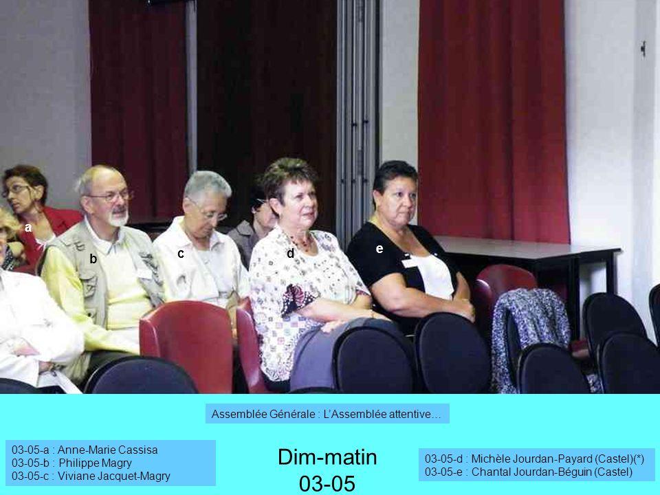 a b cd e Dim-matin 03-05 Assemblée Générale : LAssemblée attentive… 03-05-a : Anne-Marie Cassisa 03-05-b : Philippe Magry 03-05-c : Viviane Jacquet-Ma