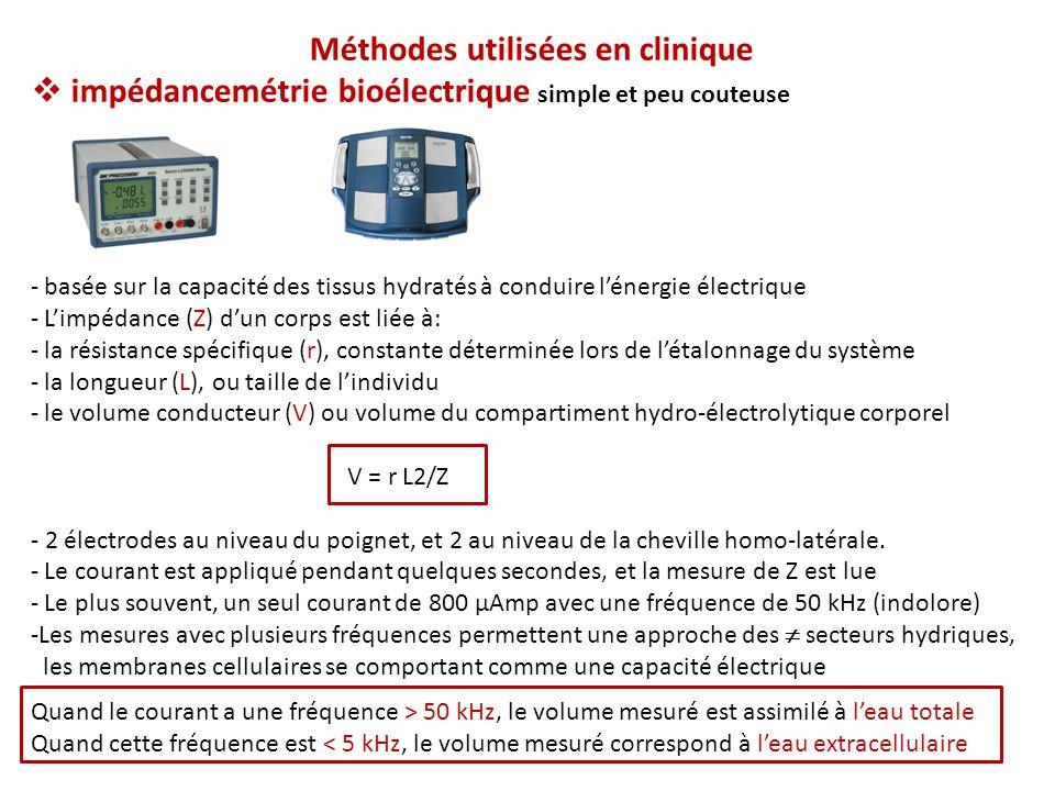 Méthodes utilisées en clinique impédancemétrie bioélectrique simple et peu couteuse - basée sur la capacité des tissus hydratés à conduire lénergie électrique - Limpédance (Z) dun corps est liée à: - la résistance spécifique (r), constante déterminée lors de létalonnage du système - la longueur (L), ou taille de lindividu - le volume conducteur (V) ou volume du compartiment hydro-électrolytique corporel V = r L2/Z - 2 électrodes au niveau du poignet, et 2 au niveau de la cheville homo-latérale.