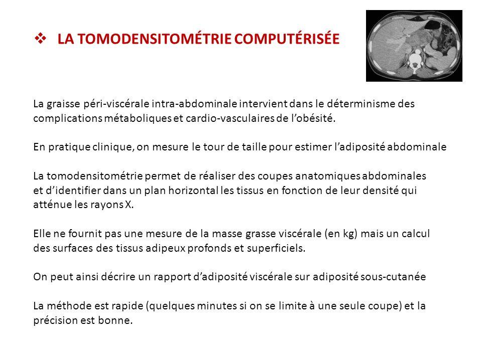 LA TOMODENSITOMÉTRIE COMPUTÉRISÉE La graisse péri-viscérale intra-abdominale intervient dans le déterminisme des complications métaboliques et cardio-vasculaires de lobésité.