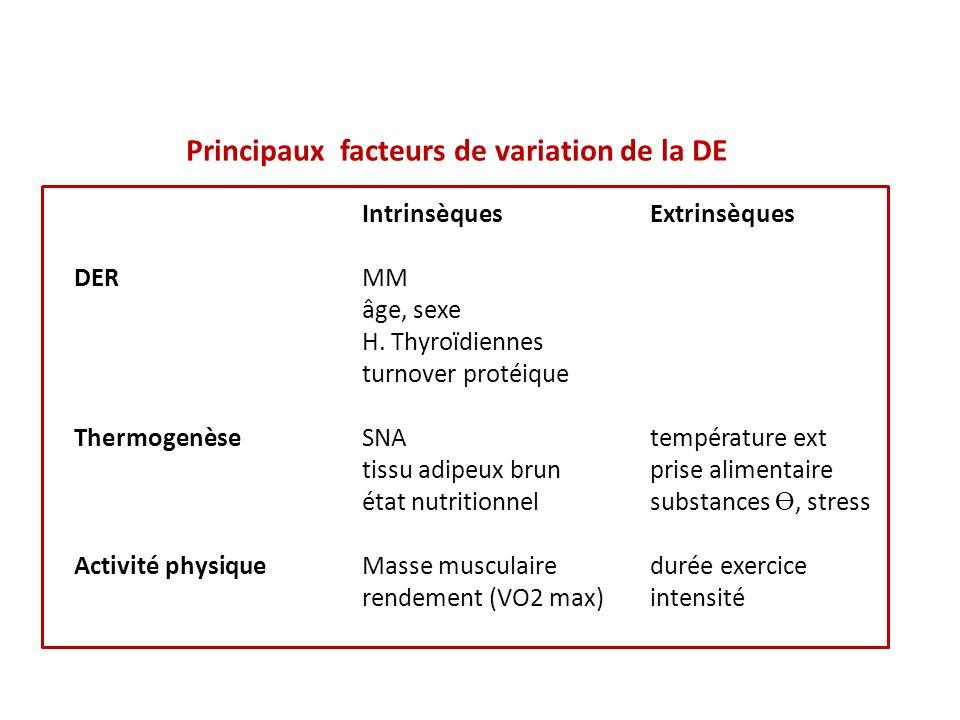 Principaux facteurs de variation de la DE IntrinsèquesExtrinsèques DERMM âge, sexe H.
