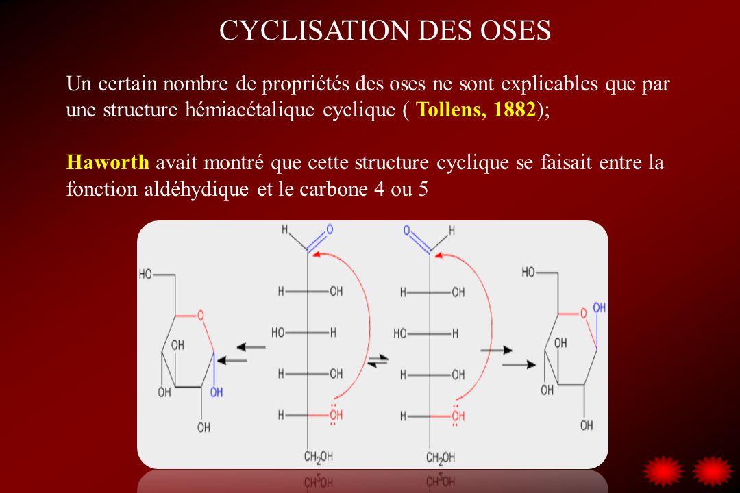 CYCLISATION DES OSES Un certain nombre de propriétés des oses ne sont explicables que par une structure hémiacétalique cyclique ( Tollens, 1882); Hawo