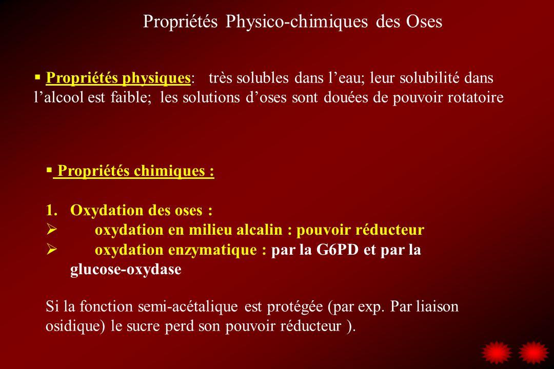 Propriétés Physico-chimiques des Oses Propriétés physiques: très solubles dans leau; leur solubilité dans lalcool est faible; les solutions doses sont