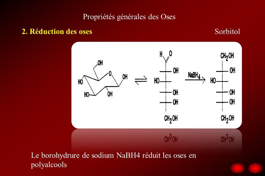 Propriétés générales des Oses 2. Réduction des oses Le borohydrure de sodium NaBH4 réduit les oses en polyalcools Sorbitol