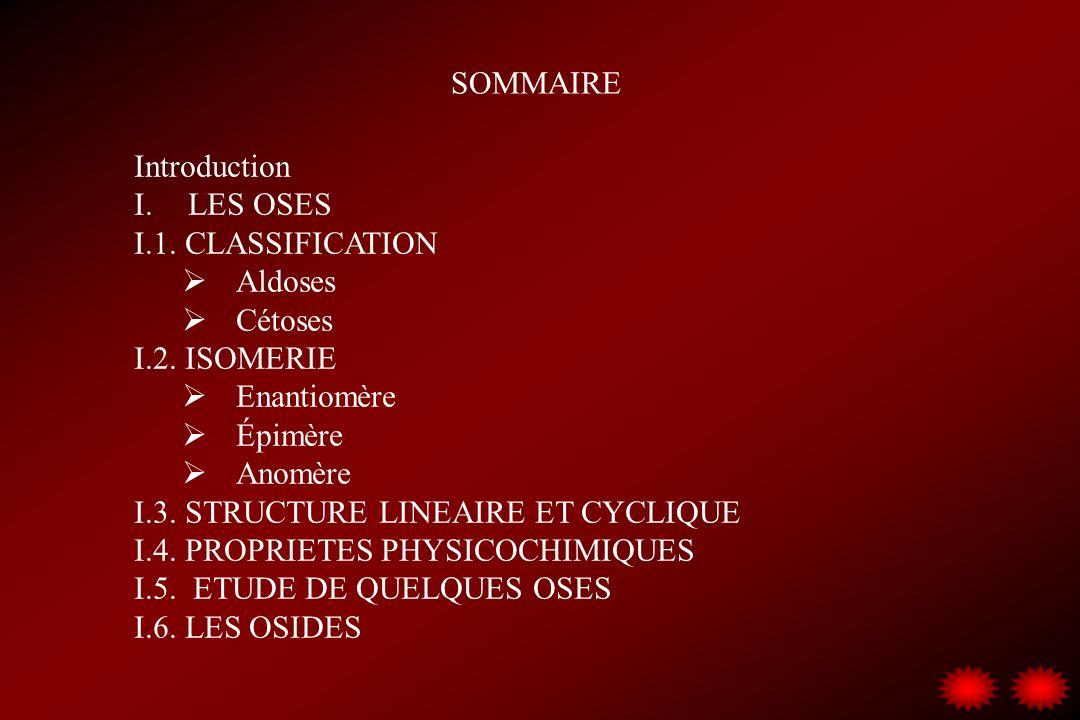 SOMMAIRE Introduction I.LES OSES I.1. CLASSIFICATION Aldoses Cétoses I.2. ISOMERIE Enantiomère Épimère Anomère I.3. STRUCTURE LINEAIRE ET CYCLIQUE I.4
