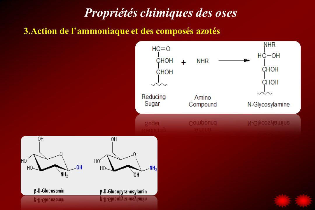 Propriétés chimiques des oses 3.Action de lammoniaque et des composés azotés