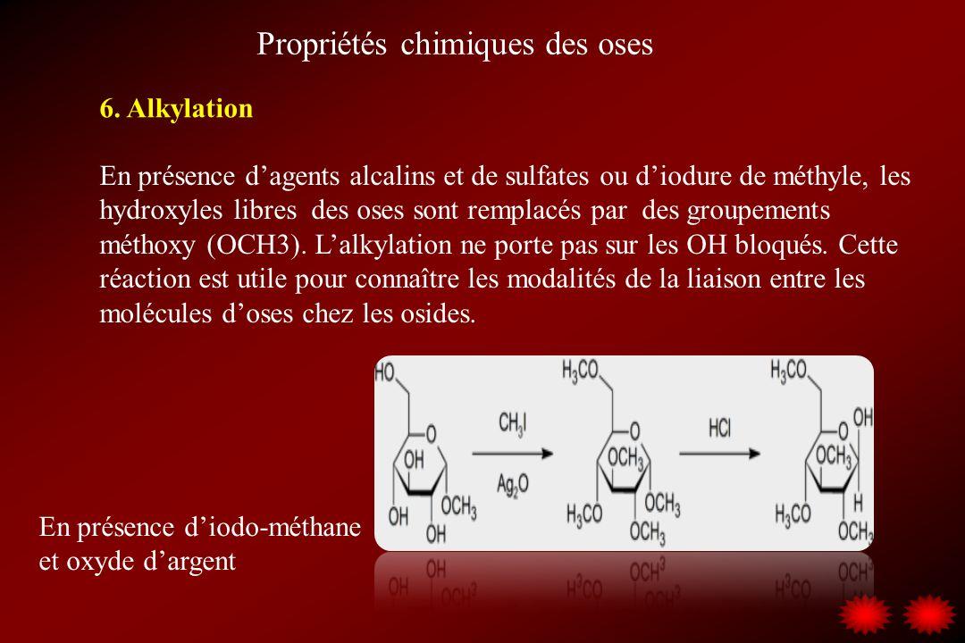 Propriétés chimiques des oses 6. Alkylation En présence dagents alcalins et de sulfates ou diodure de méthyle, les hydroxyles libres des oses sont rem