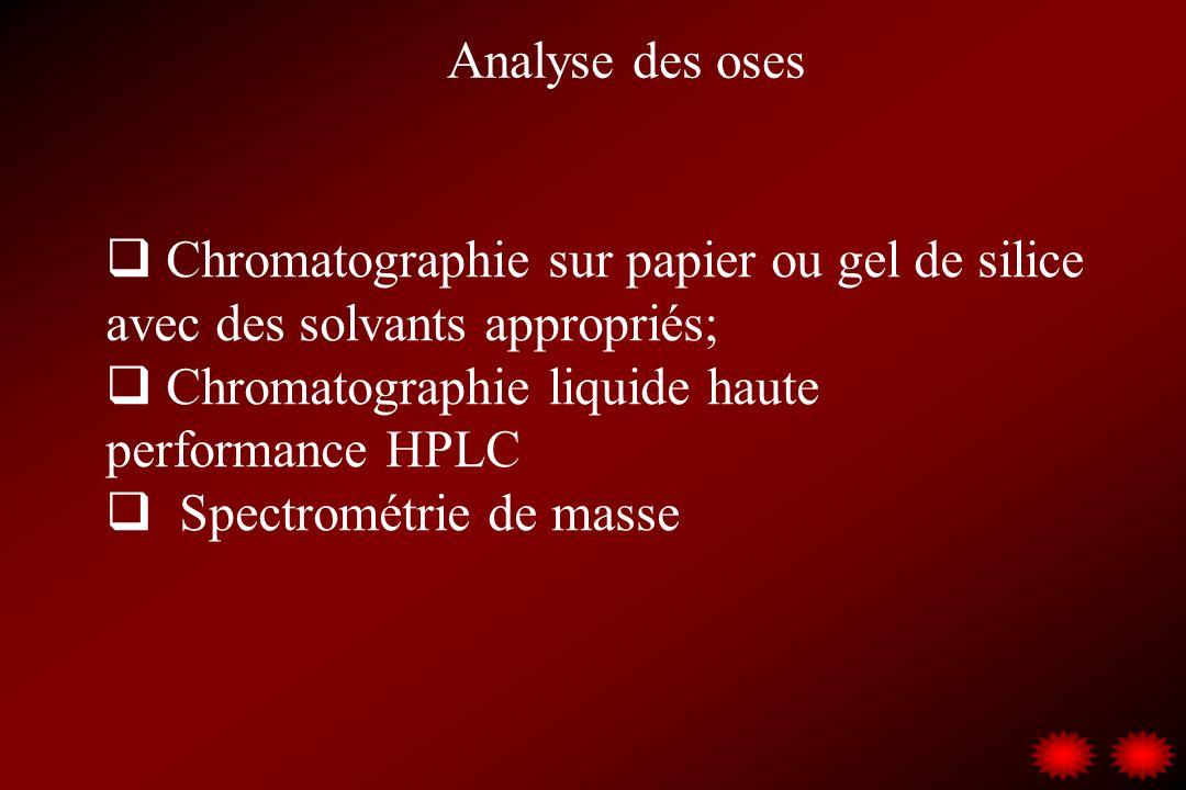 Analyse des oses Chromatographie sur papier ou gel de silice avec des solvants appropriés; Chromatographie liquide haute performance HPLC Spectrométri
