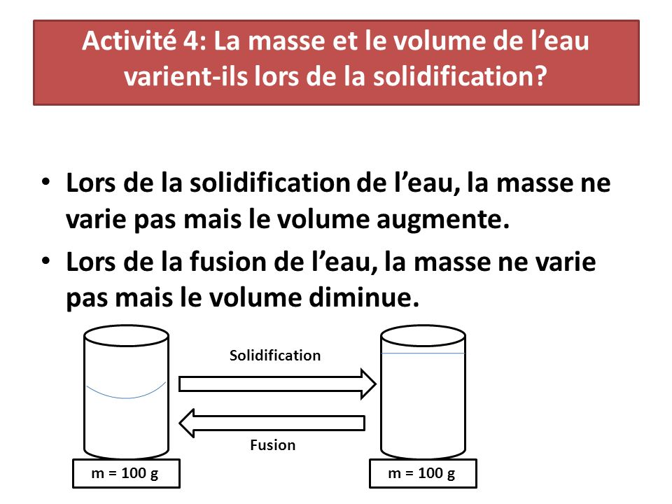 Activité 4: La masse et le volume de leau varient-ils lors de la solidification.