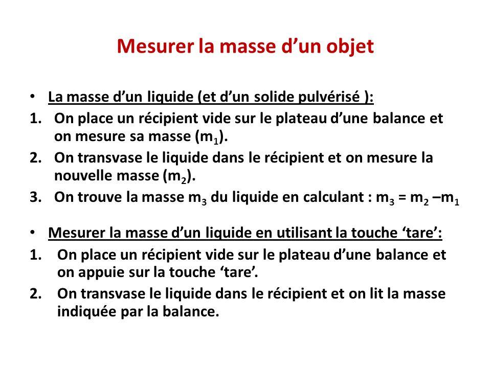 Mesurer la masse dun objet La masse dun liquide (et dun solide pulvérisé ): 1.On place un récipient vide sur le plateau dune balance et on mesure sa masse (m 1 ).