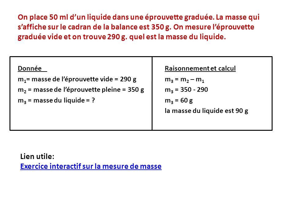On place 50 ml dun liquide dans une éprouvette graduée.