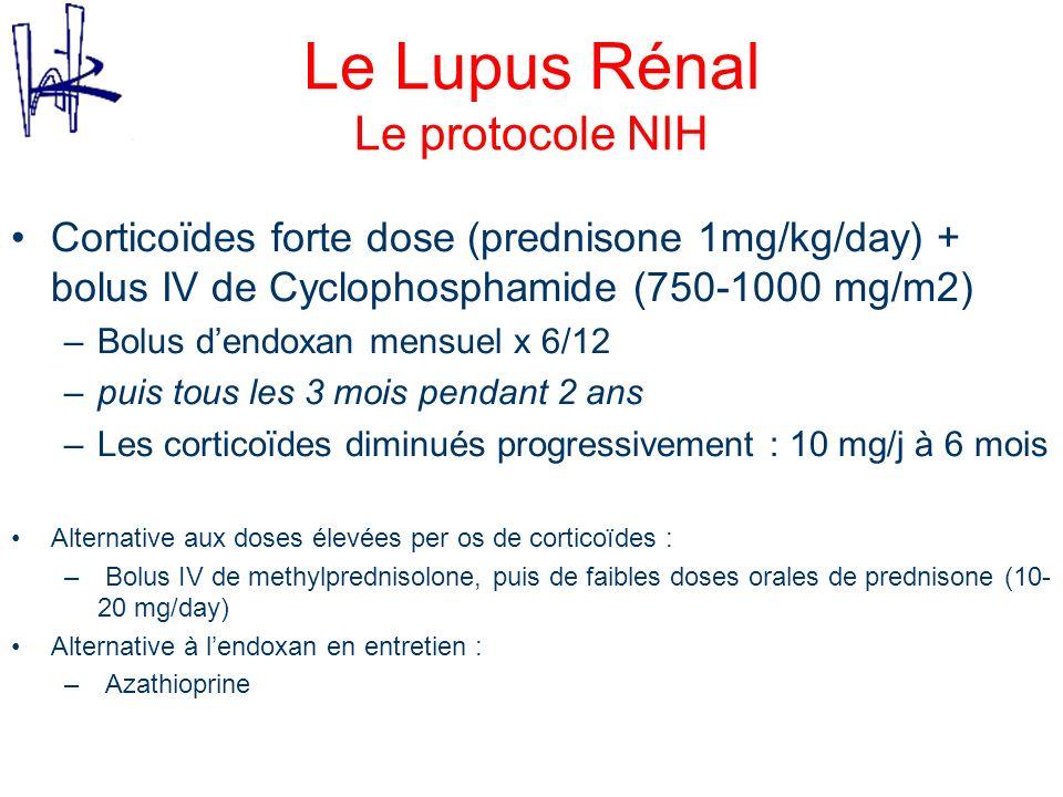 Le Lupus Rénal Le protocole NIH Corticoïdes forte dose (prednisone 1mg/kg/day) + bolus IV de Cyclophosphamide (750-1000 mg/m2) –Bolus dendoxan mensuel