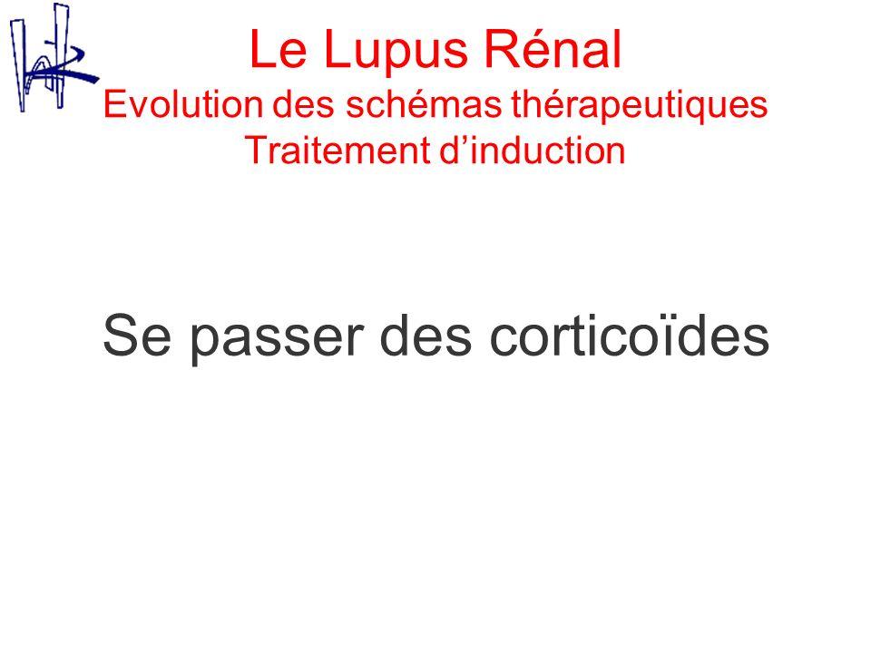 Le Lupus Rénal Evolution des schémas thérapeutiques Traitement dinduction Se passer des corticoïdes