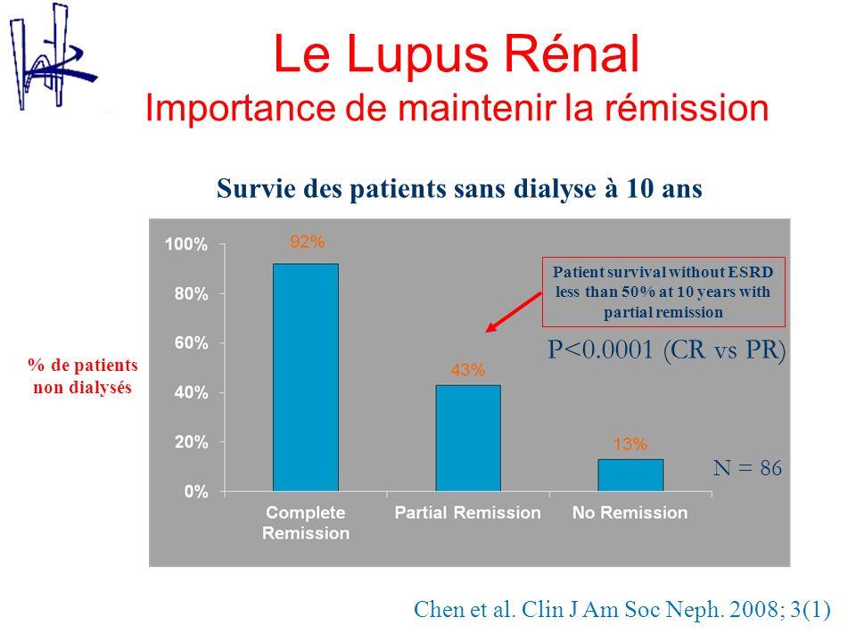 Chen et al. Clin J Am Soc Neph. 2008; 3(1) N = 86 Patient survival without ESRD less than 50% at 10 years with partial remission % de patients non dia