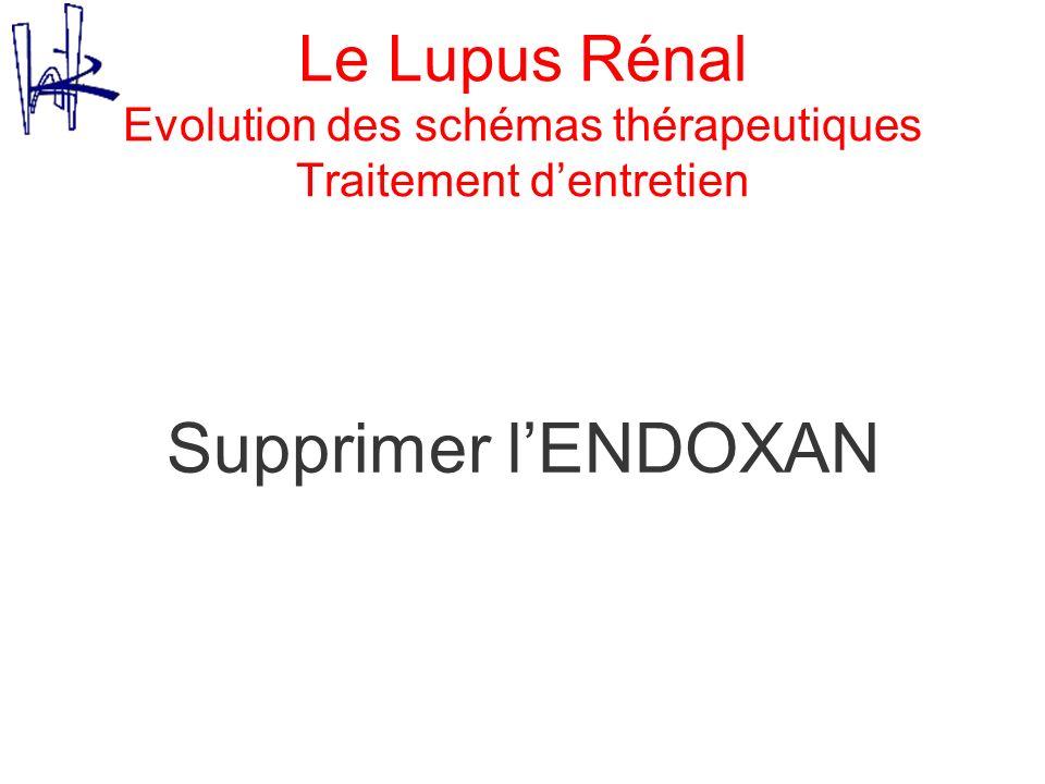 Le Lupus Rénal Evolution des schémas thérapeutiques Traitement dentretien Supprimer lENDOXAN