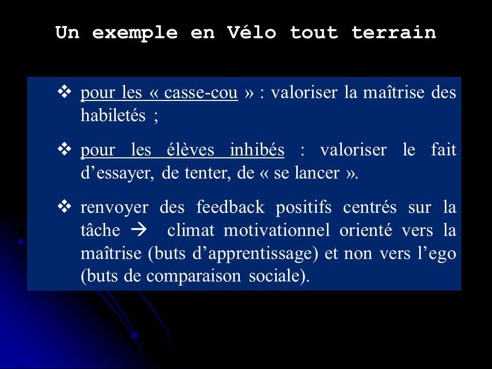 Un exemple en Vélo tout terrain pour les « casse-cou » : valoriser la maîtrise des habiletés ; pour les élèves inhibés : valoriser le fait dessayer, de tenter, de « se lancer ».