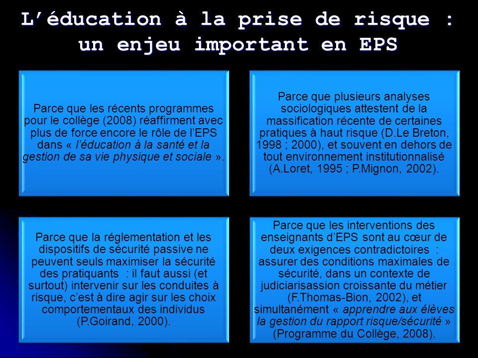 Léducation à la prise de risque : un enjeu important en EPS Parce que les récents programmes pour le collège (2008) réaffirment avec plus de force encore le rôle de lEPS dans « léducation à la santé et la gestion de sa vie physique et sociale ».
