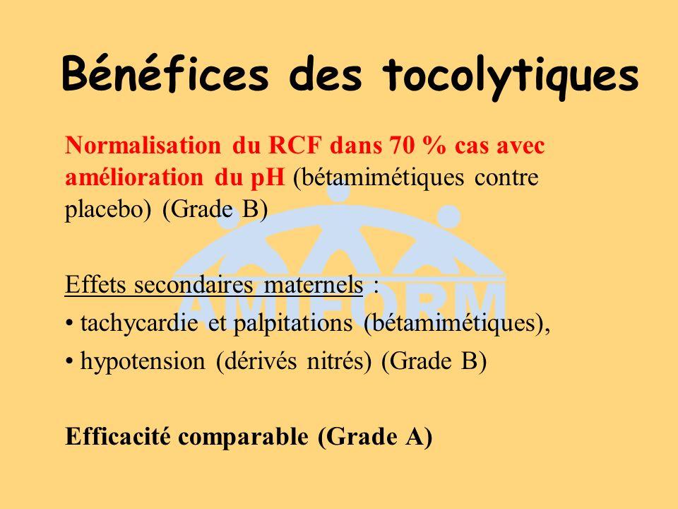 Bénéfices des tocolytiques Normalisation du RCF dans 70 % cas avec amélioration du pH (bétamimétiques contre placebo) (Grade B) Effets secondaires mat