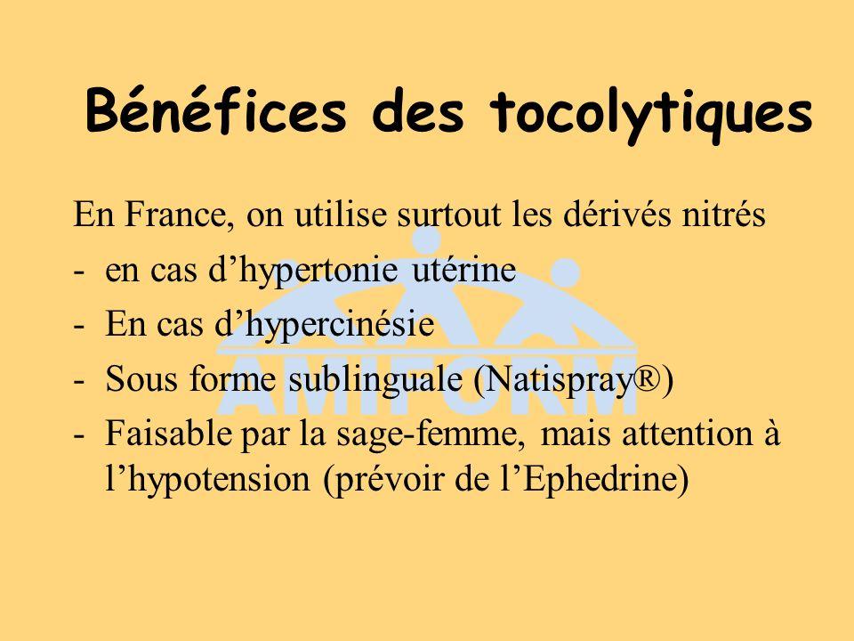 Bénéfices des tocolytiques En France, on utilise surtout les dérivés nitrés -en cas dhypertonie utérine -En cas dhypercinésie -Sous forme sublinguale