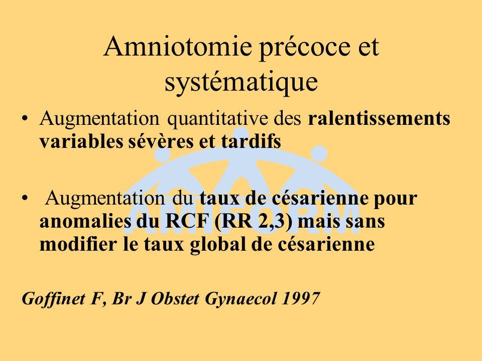 Utilisation de locytocine Fortes doses docytocine ( 4-7 mUI/min versus 1-2 mUI/min) Merrill DC, Obstet Gynecol 1999 Augmentation rapide des doses docytocine (15-20 min versus 30-40 min) Lazor LZ, Obstet Gynecol 1993 Augmentation du taux dhyperstimulations utérines et danomalies du RCF mais sans modifier le taux de césarienne pour anomalies du RCF